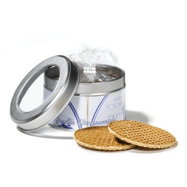 Stroopwafel in tin with window