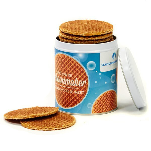 0 stroopwafels in tin with label