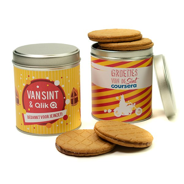 Speculoos caramalized cookies in tin with label